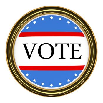 Illustration of a button with red white and blue design and the word vote