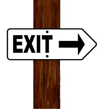 A white and black exit arrow fixed to a wooden pole over a white background