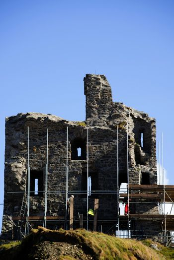 ballybunion castle surrounded by scafolding while under repair