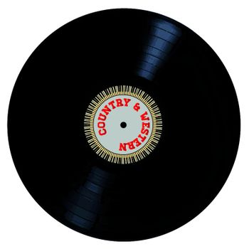 A typical LP vinyl record with the legend Country and Western and a circle of piano keys all over a white background.