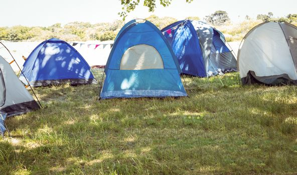 Blue tents in the campsite