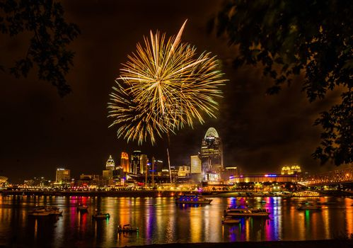 Firework on the River after a Cincinnati Reds Game