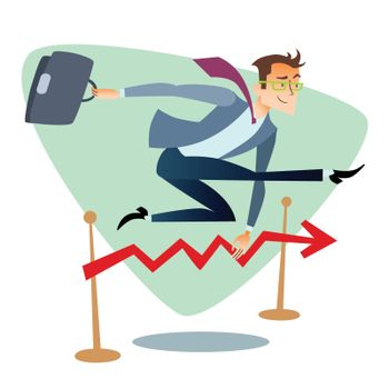 Businessman running and jumping over barriers schedule of sales
