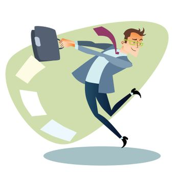 Businessman throws the briefcase like a hammer business sports c