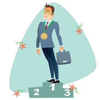 Businessman in first place of the podium business sports competi