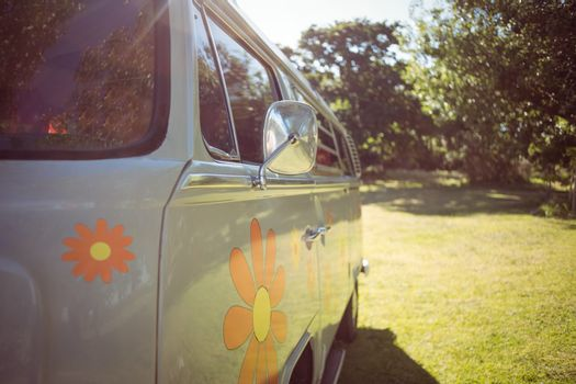 Retro camper van in a field