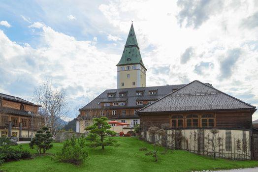 Facade of luxury hotel Elmau royal palace G7 summit 2015