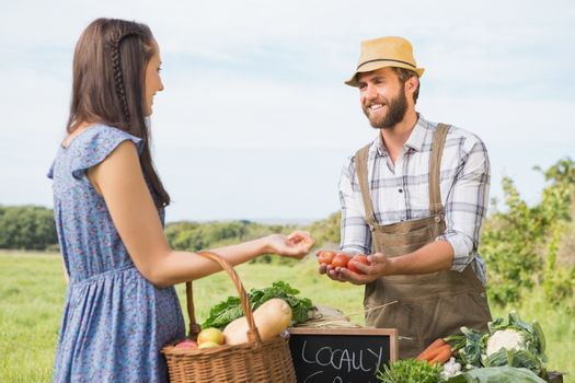 Farmer selling his organic produce