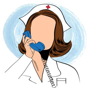 Beautiful friendly and confident nurse talking by phone