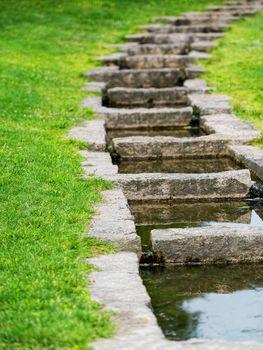 Rock installation for stream in garden