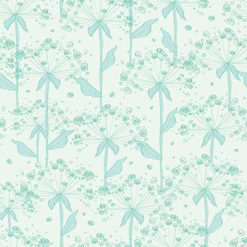 vector summer line art dandelions seamless pattern background graphic design