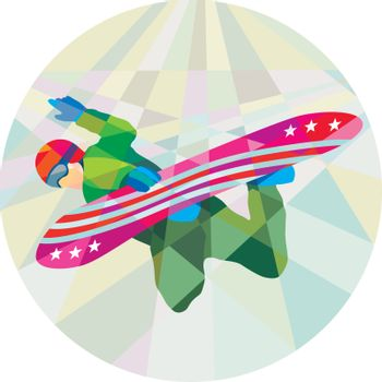 Snowboarder Snowboard Jumping Low Polygon