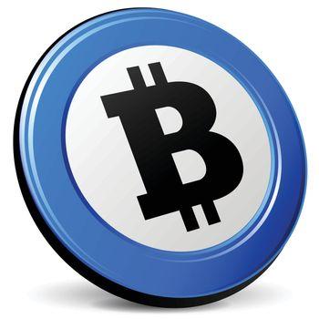illustration of bitcoin 3d blue design icon