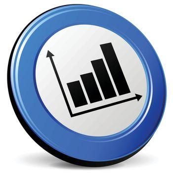illustration of graph 3d blue design icon