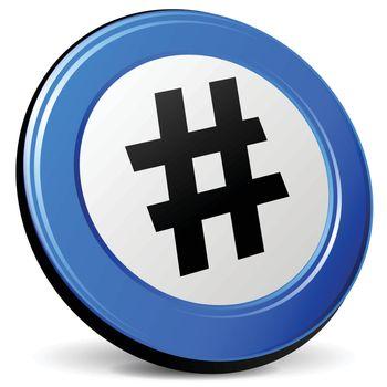 illustration of hashtag 3d blue design icon