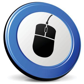 illustration of mouse 3d blue design icon
