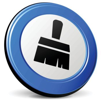 illustration of paintbrush 3d blue design icon