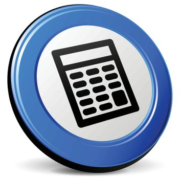 illustration of calculator 3d blue design icon