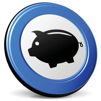 illustration of piggybank 3d blue design icon