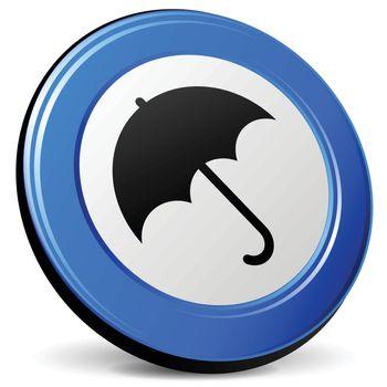 illustration of umbrella 3d blue design icon