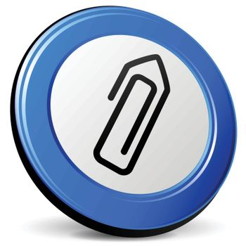 illustration of paper clip 3d blue design icon