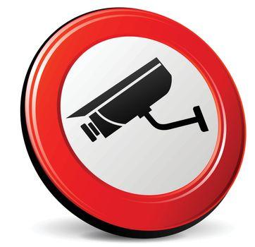 illustration of camera video 3d red design icon
