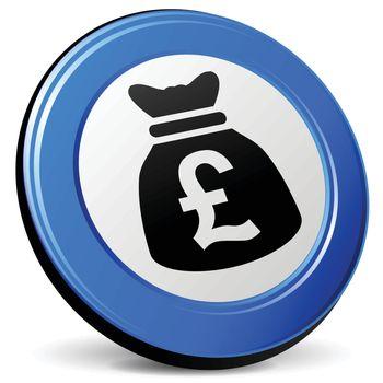 illustration of pound bag 3d blue icon