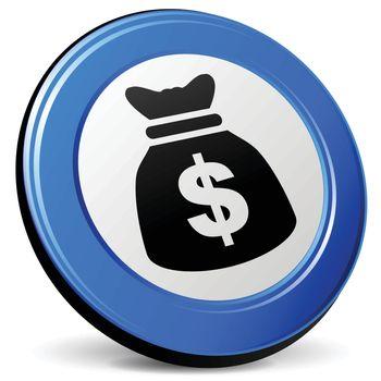 illustration of dollar bag 3d blue icon