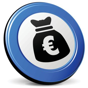 illustration of euro bag 3d blue icon