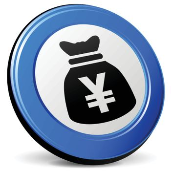 illustration of yen bag 3d blue icon