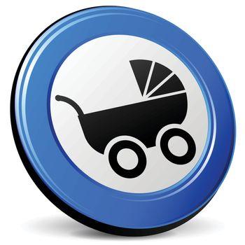 illustration of pram 3d blue design icon