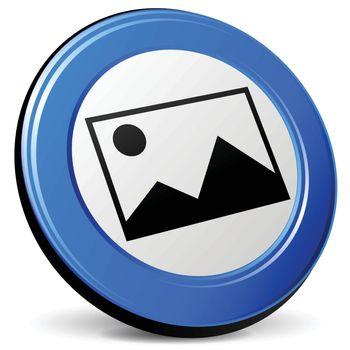 illustration of picture 3d blue design icon