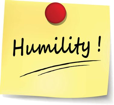 illustration of humility yellow note concept sign