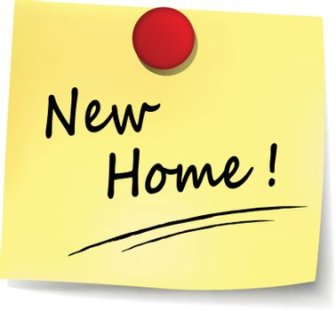 illustration of new home yellow note concept sign