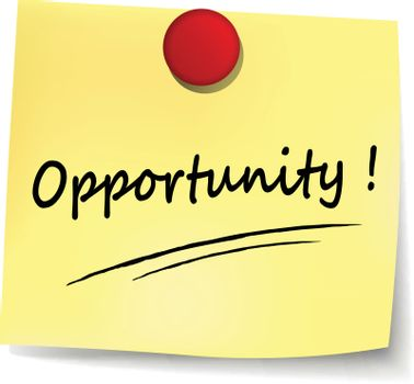 illustration of opportunity yellow note concept sign