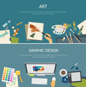 art education and graphic design web banner flat design