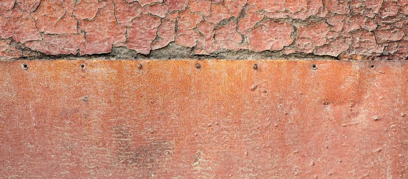 Old orange paint wood and rusty iron surface texture.
