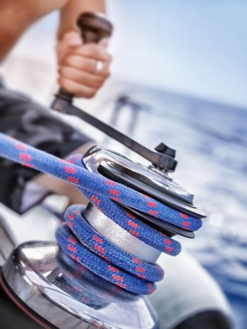 Holder of rope on sailboat