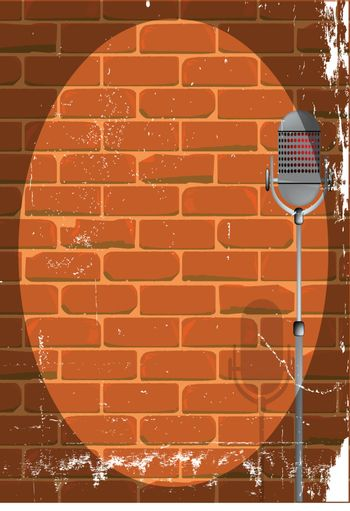 A microphone ready on stage against a brick wall with grunge