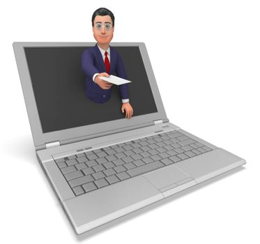 Businessman Working Online Showing Web Site And Executive