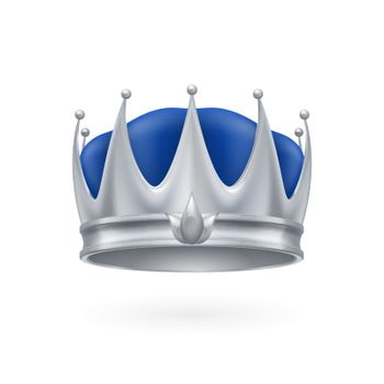 Royal silver crown isolated on a white background for design