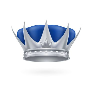 Royal silver crown on a white background