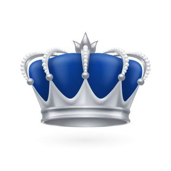 Royal silver crown on a white background for design