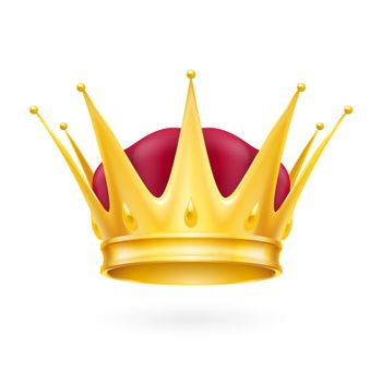 Golden crown isolated on a white background for design