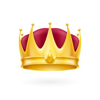 Golden crown on the white background for design