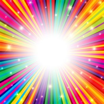 Colorful Rays Psychedelic Background with Space for Your Text in