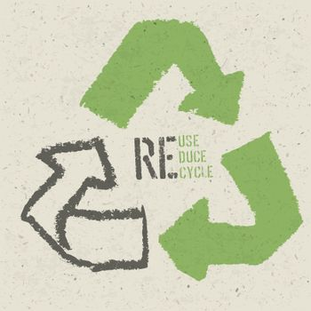 """Reuse conceptual symbol and """"Reuse, Reduce, Recycle"""" text on Rec"""