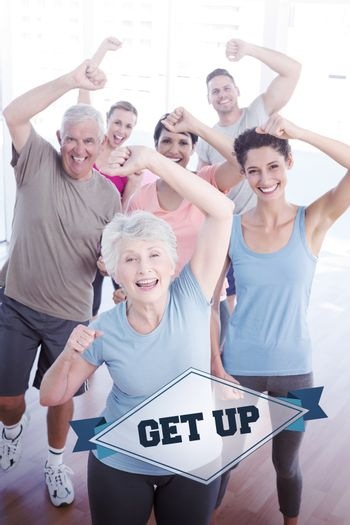 The word get up and portrait of smiling people doing power fitness exercise against badge