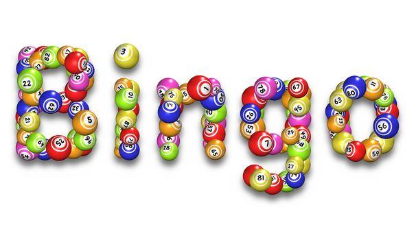 Illustration of the word Bingo made from bingo balls
