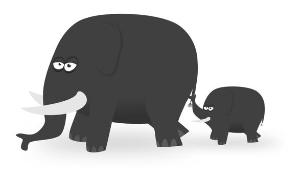 Illustration of a parent elephant and Calf